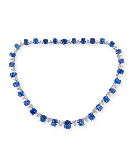 NM Estate Platinum Blue Sapphire and Diamond-Trio Necklace