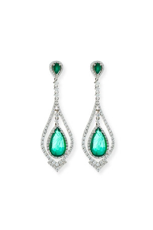 Andreoli 18k White Gold Emerald & Diamond Pear Earrings