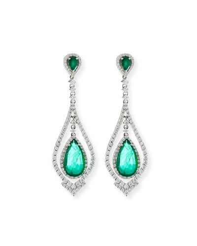 18k White Gold Emerald & Diamond Pear Earrings