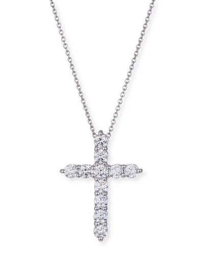 18k White Gold Small Diamond Cross Pendant