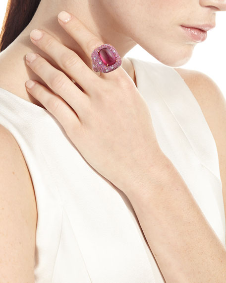 Marbella Rubellite Cabochon Ring in 18K Rose Gold, Size 6.5
