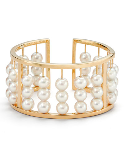 Akoya Pearl Abacus Bangle Bracelet