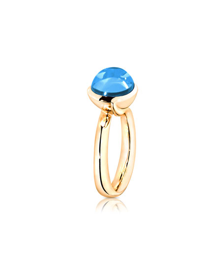 Large Bouton Swiss Blue Topaz Cabochon Ring, Size 7/54