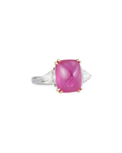 Sugarloaf Platinum Ruby & Diamond Ring, Size 7