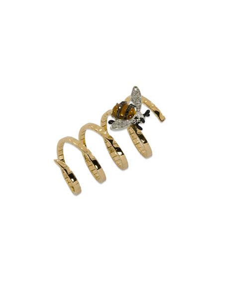 Staurino Magic Snake 18k Rose Gold Bee Ring w/ Diamonds
