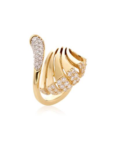 Ventaglio 18k Gold Diamond Fan Ring  Size 6