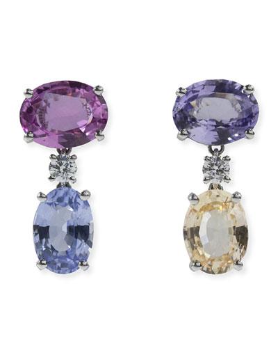 Platinum Mismatched Sapphire Drop Earrings