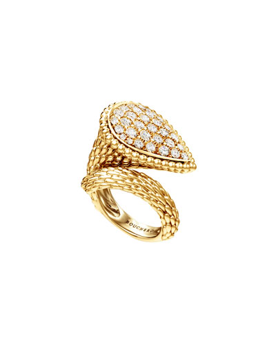 Serpent Boheme 18k Gold Diamond Large Ring, Size 52