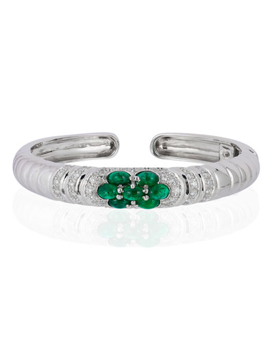18k White Gold Emerald & Diamond Bangle