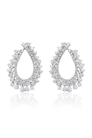 Andreoli 18k White Gold Diamond Pear Hoop Earrings