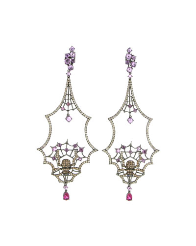 18k White Gold Multi-Sapphire Drop Earrings