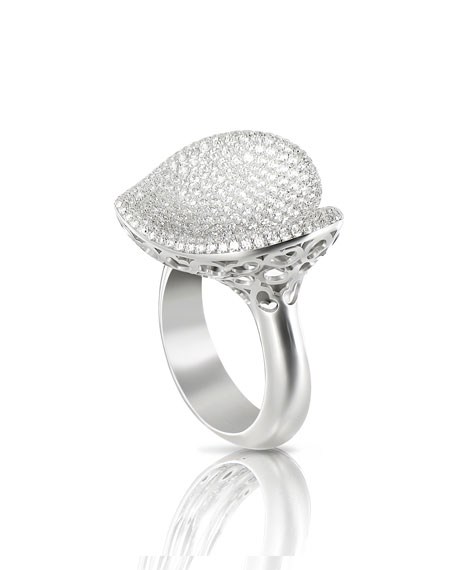 Pavé Diamond Heart Ring in 18K White Gold