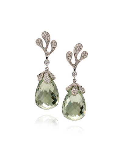 Sea Leaf 18k White Gold Diamond & Green Amethyst Earrings