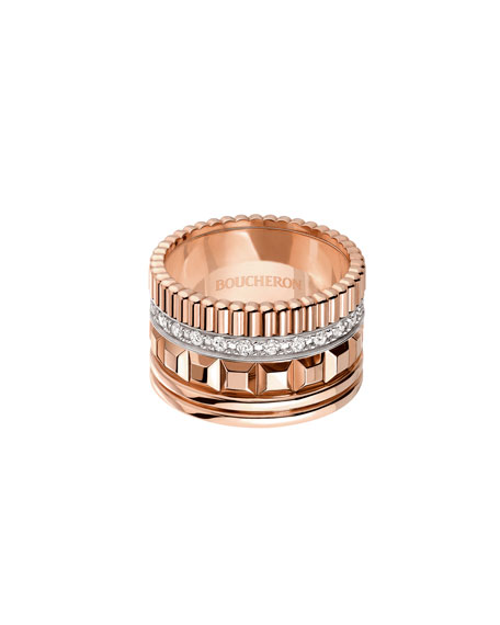 Quatre 18K Pink Gold Ring with Diamonds, Size 55