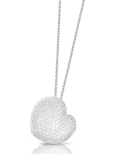 Pavé Diamond Heart Pendant Necklace in 18K White Gold