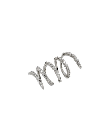 Magic Snake 18K White Gold Spiral Ring with Diamonds, Size 6.5