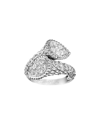 Serpent Boheme 18k White Gold Diamond Bypass Ring  Size 52