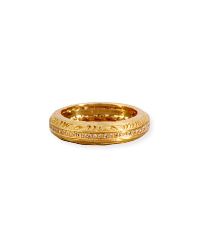 The Other Half Men's Textured 18K Gold Band Ring with Champagne Diamonds
