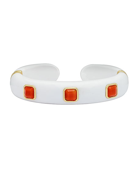 Weekend White Agate Cuff Bracelet with Coral Studs