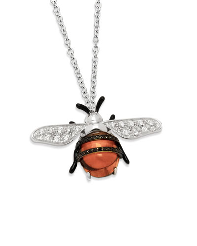 18k Nature Bumble Bee Pendant Necklace