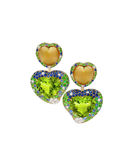 Hearts Desire South Sea Pearl & Peridot Detachable Drop Earrings