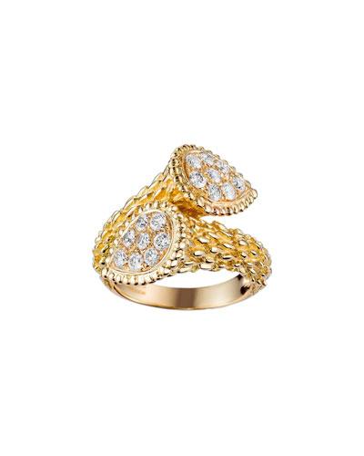 Serpent Boheme 18k Rose Gold Diamond Bypass Ring  Size 55