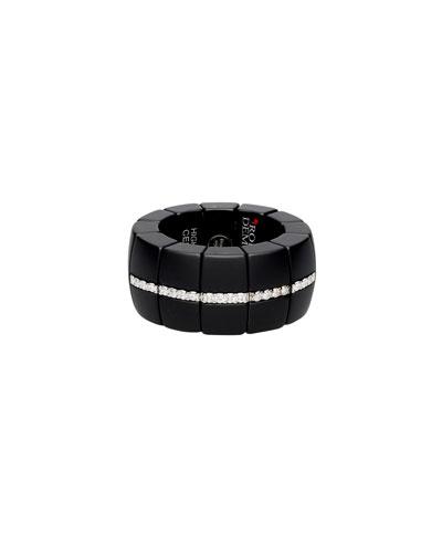 Black Ceramic Stretch Ring w/ Diamond Pave