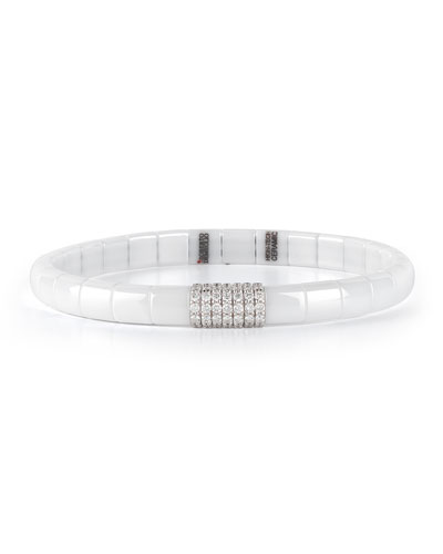 White Ceramic & 18K White Gold Bracelet with Diamonds, 0.49 tdcw