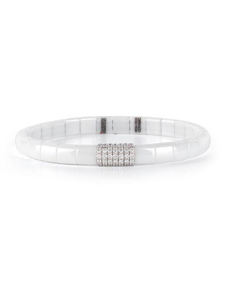 White Ceramic & 18K White Gold Bracelet with Diamonds, 0.49 tdcw