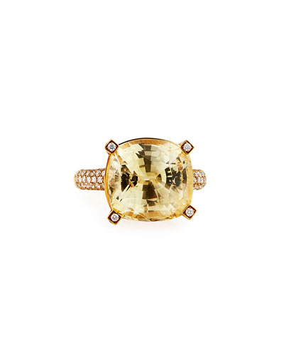18k Gold Yellow Sapphire Cushion Ring w/ Diamonds