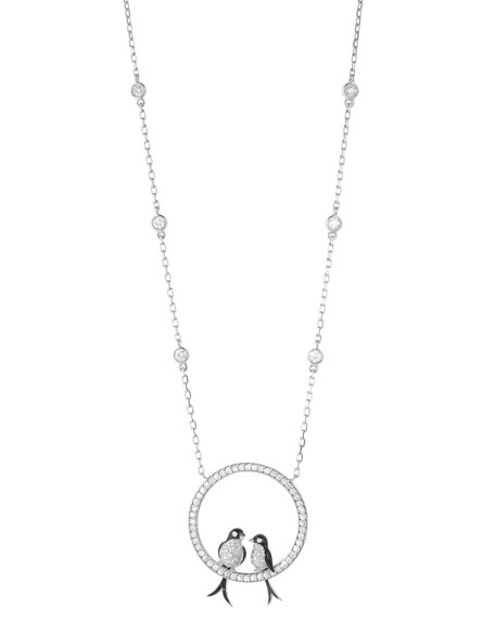 Boucheron 18k Diamond Swallows Pendant Necklace