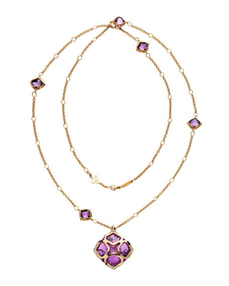 Imperiale Amethyst Station Necklace with Diamonds