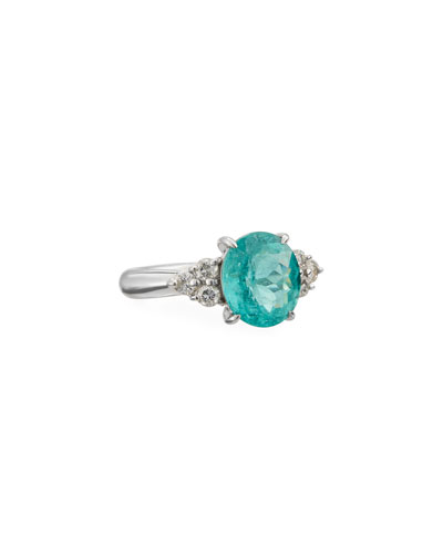 Paraiba Tourmaline & Diamond Ring in Platinum, Size 7.75
