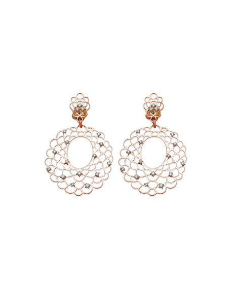 Moresca Chandelier Earrings with Diamonds in 18K Rose Gold