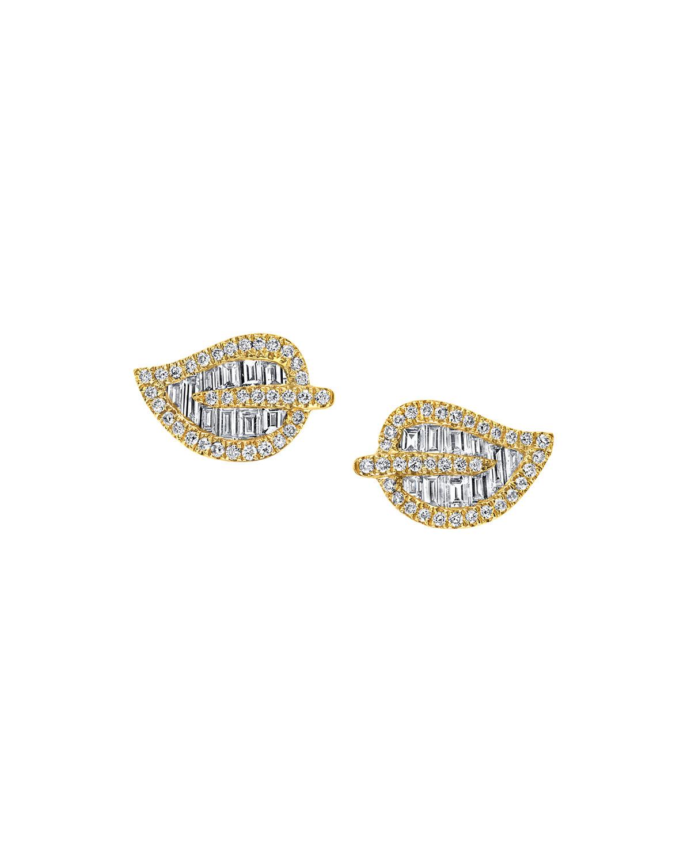 18k Gold Small Diamond Leaf Earrings