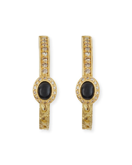 18K Gold Hoop Earrings with Diamonds & Onyx