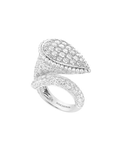 Serpent Boheme 18k White Gold Diamond Large Ring, Size 54