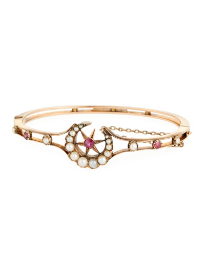 15k Ruby & Pearl Celestial Bangle