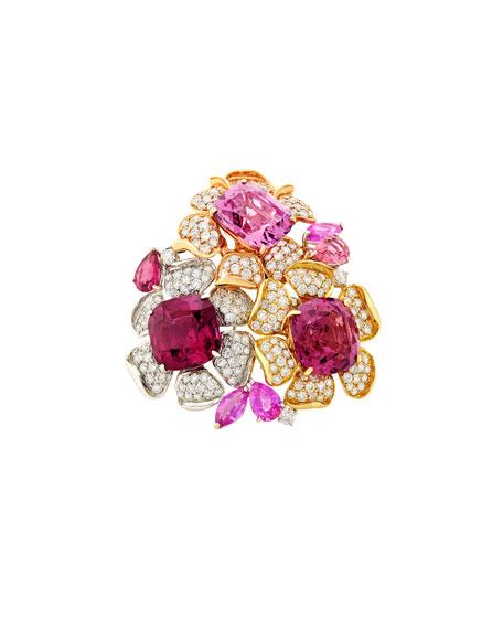 Margot McKinney Jewelry Three Flower Garnet and Diamond Ring