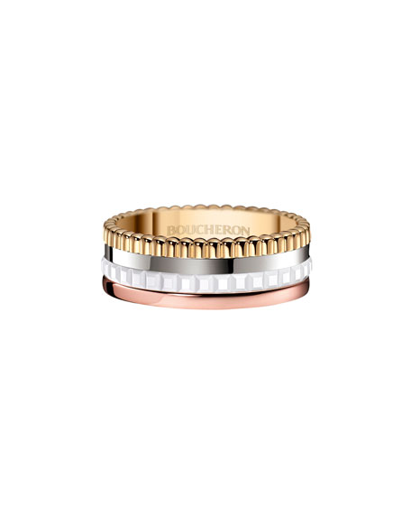 Boucheron Classic Quatre 18k Gold Large Diamond Band Ring, Size 56