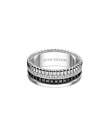 Boucheron Large Black Edition Diamond Quatre Band, Size 54