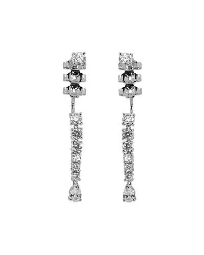 18k White Gold Linear Diamond Drop Earrings