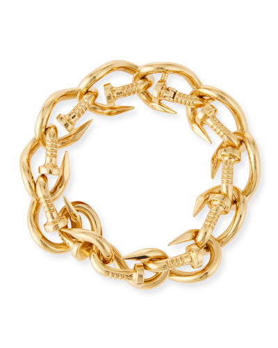 18k Polished Nail Link Bangle Bracelet