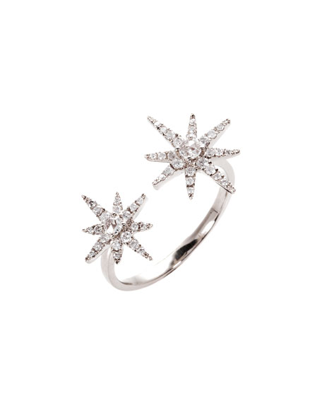 Starburst 18K White Gold Open Ring with Diamonds, Size 7