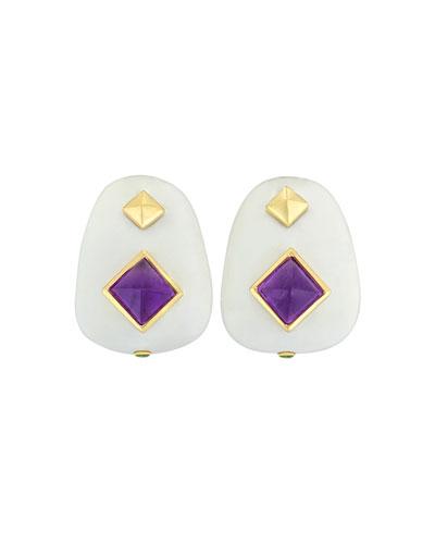 18k White Agate  Amethyst & Tsavorite Garnet Earrings