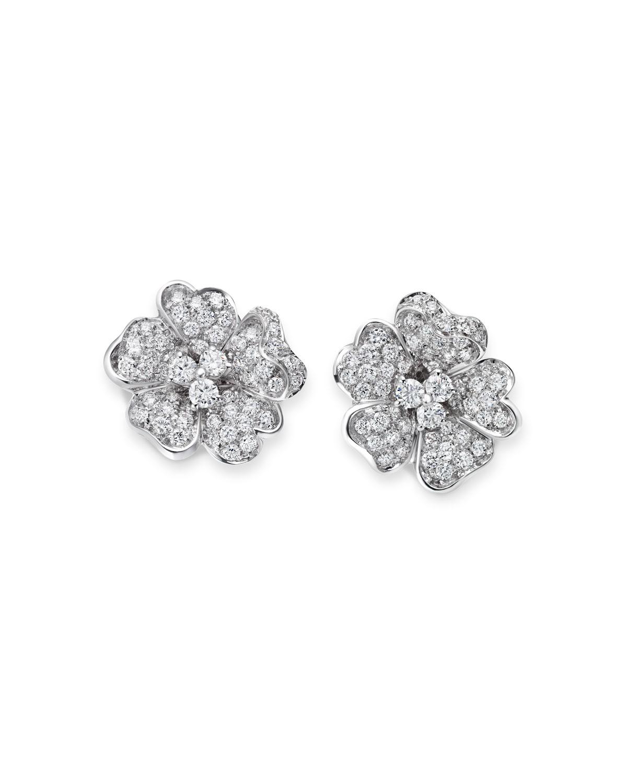 Iconic Flower 18k White Gold Diamond Earrings
