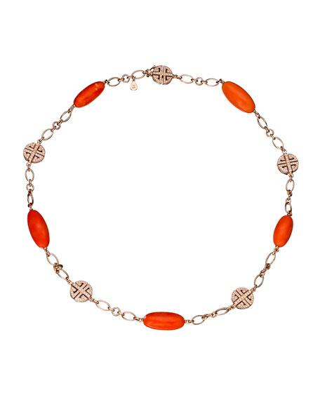 Coral & Diamond Station Bracelet in 18K Rose Gold