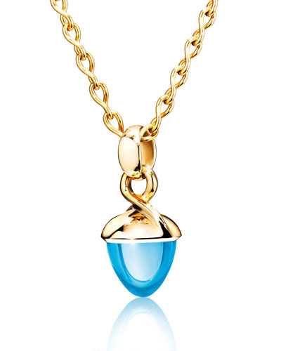 MIKADO BOUQUET 18k Rose Gold Swiss Blue Topaz Pendant