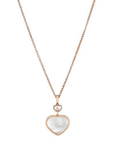 Happy Hearts 18k Mother-of-Pearl & Diamond Long Pendant Necklace