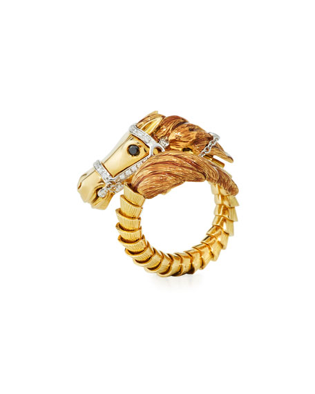 Roberto Coin 18k Coiled Diamond Horse Ring, Size